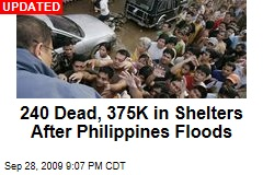 240 Dead, 375K in Shelters After Philippines Floods