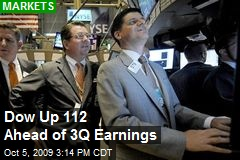 Dow Up 112 Ahead of 3Q Earnings