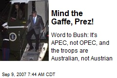 Mind the Gaffe, Prez!