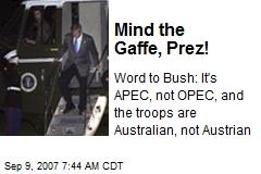 Mind the Gaffe, Prez!