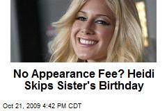 No Appearance Fee? Heidi Skips Sister's Birthday