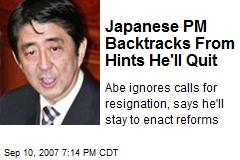 Japanese PM Backtracks From Hints He'll Quit
