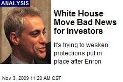 White House Move Bad News for Investors