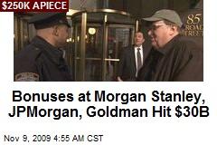 Bonuses at Morgan Stanley, JPMorgan, Goldman Hit $30B