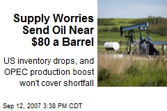 Supply Worries Send Oil Near $80 a Barrel