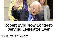 Robert Byrd Now Longest-Serving Legislator Ever