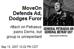 MoveOn Defends Ad, Dodges Furor