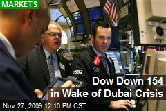 Dow Down 154 in Wake of Dubai Crisis
