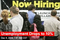 Unemployment Drops to 10%