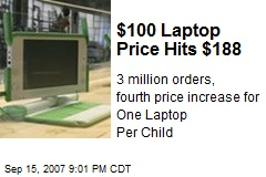 $100 Laptop Price Hits $188