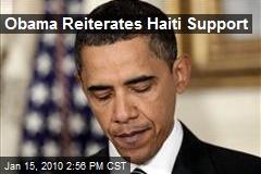 Obama Reiterates Haiti Support