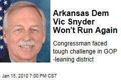Arkansas Dem Vic Snyder Won't Run Again
