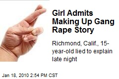 Girl Admits Making Up Gang Rape Story