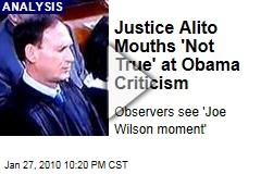Justice Alito Mouths 'Not True' at Obama Criticism