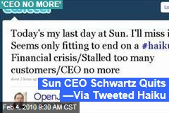 Sun CEO Schwartz Quits —Via Tweeted Haiku