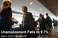 Unemployment Falls to 9.7%