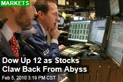 Dow Up 12 as Stocks Claw Back From Abyss