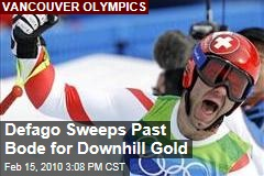 Defago Sweeps Past Bode for Downhill Gold