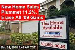New Home Sales Plummet 11.2%, Erase All '09 Gains