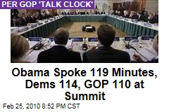 Obama Spoke 119 Minutes, Dems 114, GOP 110 at Summit