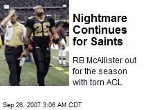 Nightmare Continues for Saints