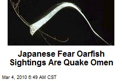 Japanese Fear Oarfish Sightings Are Quake Omen