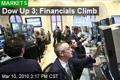 Dow Up 3; Financials Climb