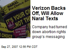 Verizon Backs Off, Will Allow Naral Texts
