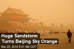Huge Sandstorm Turns Beijing Sky Orange