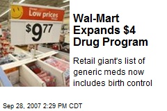 Wal-Mart Expands $4 Drug Program
