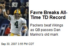 Favre Breaks All-Time TD Record