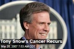 Tony Snow's Cancer Recurs