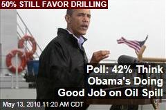 Poll: 42% Think Obama's Doing Good Job on Oil Spill