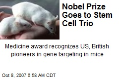 Nobel Prize Goes to Stem Cell Trio