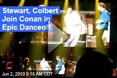 Stewart, Colbert Join Conan in Epic Danceoff