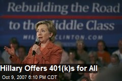 Hillary Offers 401(k)s for All