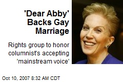 'Dear Abby' Backs Gay Marriage
