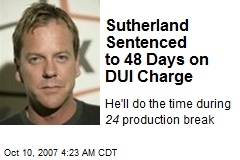 Sutherland Sentenced to 48 Days on DUI Charge