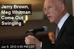 Jerry Brown, Meg Whitman Come Out Swinging