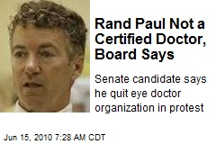 Rand Paul Not a Certified Doctor, Board Says