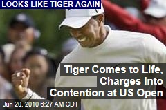 Tiger Comes to Life, Charges Into Contention at US Open