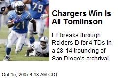 Chargers Win Is All Tomlinson