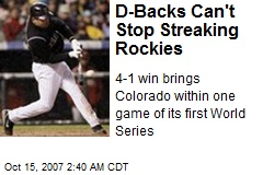 D-Backs Can't Stop Streaking Rockies