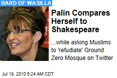 Palin Compares Herself to Shakespeare