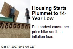 Housing Starts Plummet to 14-Year Low