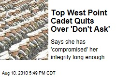 Top West Point Cadet Quits Over 'Don't Ask'