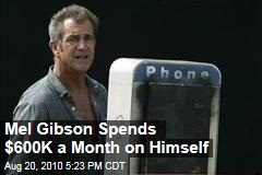 Mel Gibson Spends $600K a Month on Himself