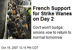 French Support for Strike Wanes on Day 2