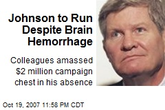 Johnson to Run Despite Brain Hemorrhage