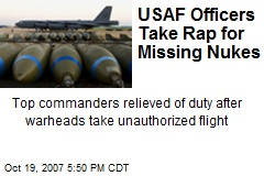 USAF Officers Take Rap for Missing Nukes
